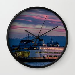 Sunset Ferry Wall Clock