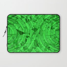 psychedelic geometric circle pattern abstract background in green Laptop Sleeve