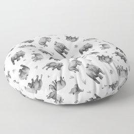 Rhino's Grazing - Black & White Floor Pillow