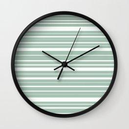 Light Spring Rain Celadon Green Stripes Pattern Wall Clock