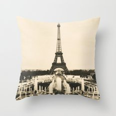 Eiffel Tower - Vintage Post card Throw Pillow
