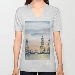 Hand Painting Offshore Oil Platform Unisex V-Neck