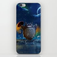 studio ghibli iPhone & iPod Skins featuring Studio Ghibli: My Neighbour Totoros by Laurence Andrew Page Illustrator
