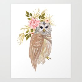 Owl with flower crown Art Print