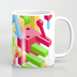 Abstract Geometric Hi-Tech Background with Colorful 3D Objects Coffee Mug