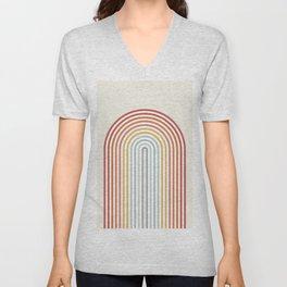 Minimalist colorful rainbow lines  Unisex V-Neck