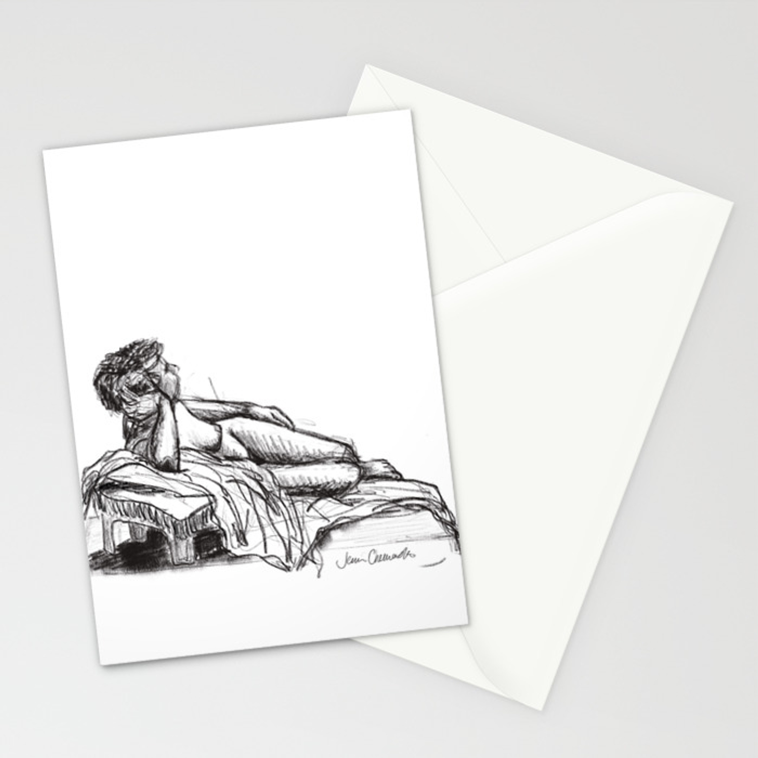 Reclining nude drawing from a live model stationery cards by jennchemasko