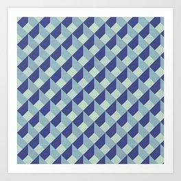 Blue Geometric Pattern Art Print