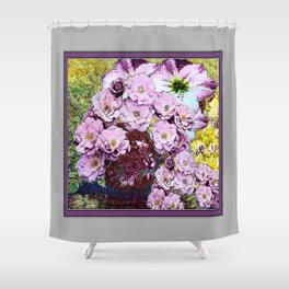 WATER COLOR PINK ROSES GARDEN FLOWERS PLUM VASE Shower Curtain