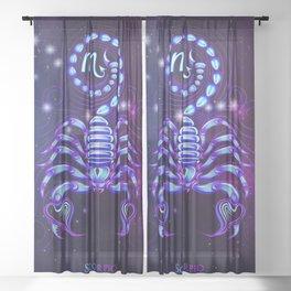 Zodiac neon signs — Scorpio Sheer Curtain