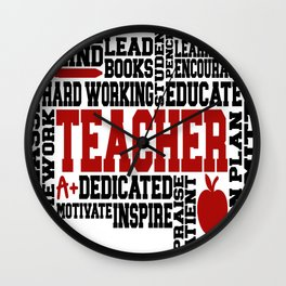 Teacher Word Art Wall Clock