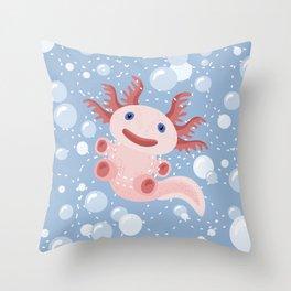 Cute Axolotl and The Bubbles Throw Pillow