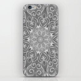 Gray Center Swirl Mandala iPhone Skin