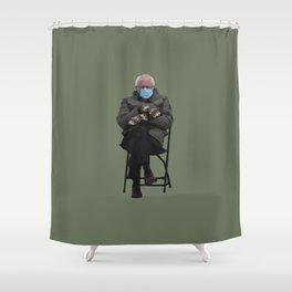 Bernie Sanders Mittens Chair Meme Vector Art Shower Curtain