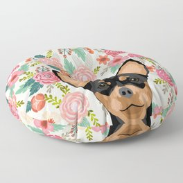 Chihuahua dog floral pet pure breed gifts for chihuahua black and tan Floor Pillow