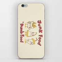 junk food iPhone & iPod Skins featuring Junk food is dumb food by penguinline