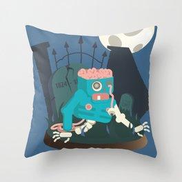 ZOMBIE CRAWLER IN CEMETARY Throw Pillow