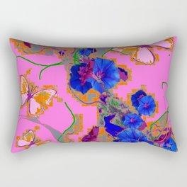 Pink Butterflies Blue Morning Glory Pink Color Art Rectangular Pillow