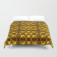 yellow pattern Duvet Covers featuring yellow pattern by dedoma