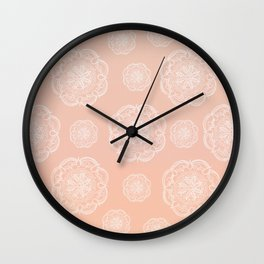 Peach Blush Romantic Flower Mandala Pattern #3 #decor #art #society6 Wall Clock
