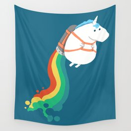 Fat Unicorn on Rainbow Jetpack Wall Tapestry