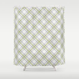 Diagonal tartan gray and yellow over white Shower Curtain