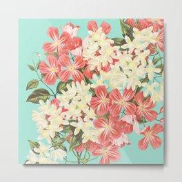 Clematis Floral Pattern Metal Print