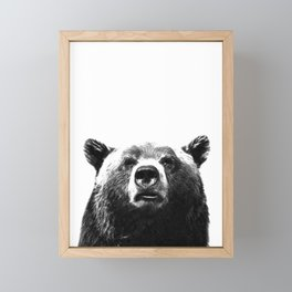 Black and white bear portrait Framed Mini Art Print