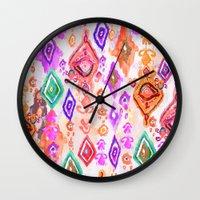 bali Wall Clocks featuring Bali Ikat  by Nikkistrange