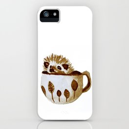 Hedgehog in a Cup Painted with Coffee iPhone Case