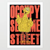 sesame street Art Prints featuring OCCUPY SESAME STREET by perilpress