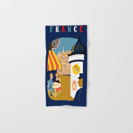 Vintage France Sidewalk Cafe Travel Hand & Bath Towel