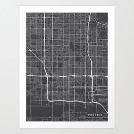 Phoenix Map, Arizona USA - Charcoal Portrait Art Print