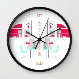 Eat Design Sleep Rose Gold Wall Clock