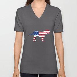 Dogue De Bordeaux Mastiff American Flag Patriotic Dog graphic Unisex V-Neck