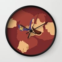 donkey kong Wall Clocks featuring Donkey Kong(Smash)Red by samaran