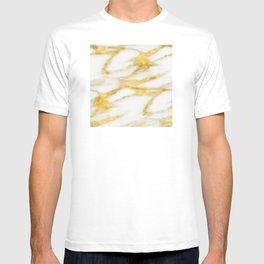 Italian 18 Karat Gold on Pure Cream Marble T-shirt