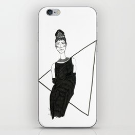 Girl in a black dress iPhone Skin