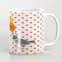 bonjour Mugs featuring Bonjour! by Sreetama Ray