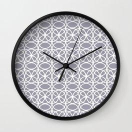 Pantone Lilac Gray and White Rings Circle Heaven 2, Overlapping Ring Design - Digital Artwork Wall Clock
