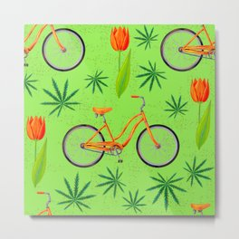 Netherlands seamless pattern with bicycle, marijana cannabis leafs and spring-flowering plant tulip Metal Print