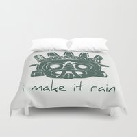 supreme Duvet Covers featuring Tlaloc, Supreme God Of The Rains by Silvio Ledbetter