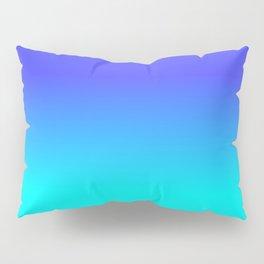 Neon Blue and Bright Neon Aqua Ombré Shade Color Fade Pillow Sham