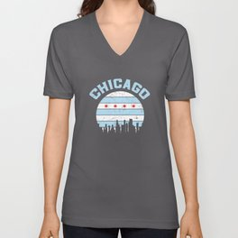 Chicago Skyline Flag Chicagoan Apparel Gift Unisex V-Neck