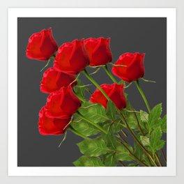 BOUQUET OF  RED LONG STEM ROSES  DESIGN Art Print