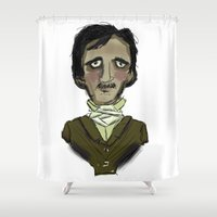 poe Shower Curtains featuring Poe-tiful by Luke Clark
