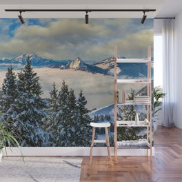 Sea of Fog atop the Swiss Alps Wall Mural