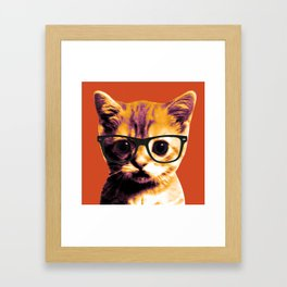 Pop Art Cat Orange Framed Art Print