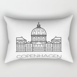 Marble Church Copenhagen Denmark Black and White Rectangular Pillow