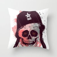 soldier Throw Pillows featuring Soldier  by Jelot Wisang